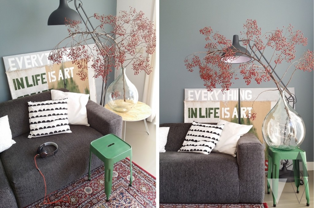 quip & Co styling kruk industrieel groen als bijzettafel